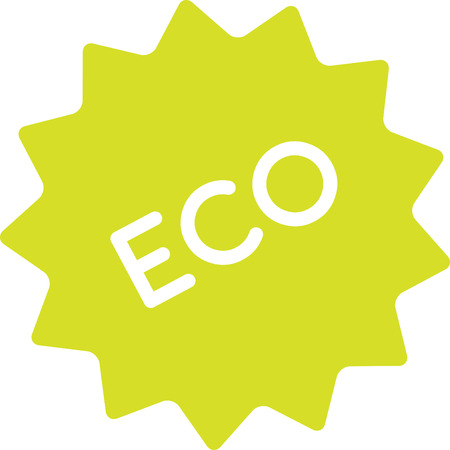 conscious: Eco product badge simple. Clean graphic icon of clean ecological product. Sign, label of healthy, good, natural product. Nature conscious, honest produce. Illustration