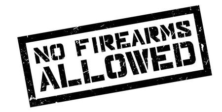 disapprove: No Firearms Allowed rubber stamp on white. Print, impress, overprint. Illustration
