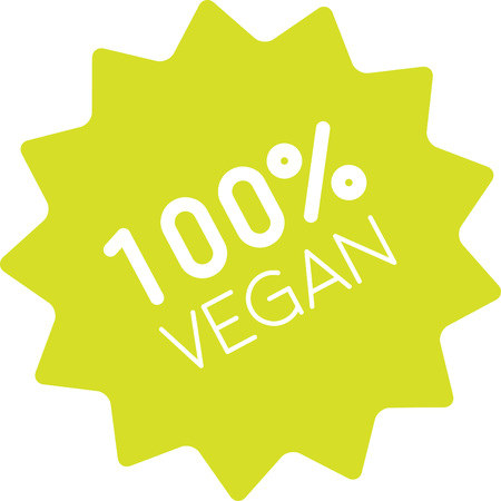 harm: One hundred percent vegan label. Clean green sign of pure vegetarian product. No meat, no harm to animals. Only naturally grown ingredients.