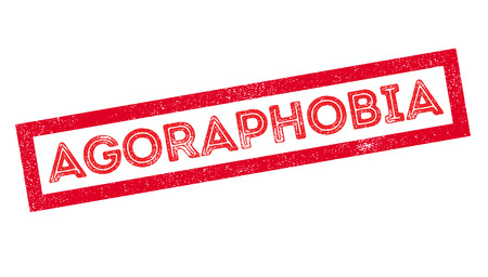 Agoraphobia rubber stamp on white. Print, impress, overprint.