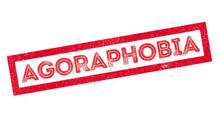 provoke: Agoraphobia rubber stamp on white. Print, impress, overprint.