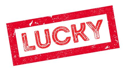 fluke: Lucky rubber stamp on white. Print, impress, overprint. Illustration