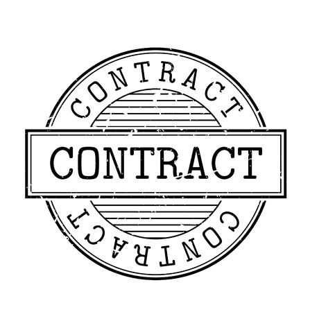 contractual: Contract rubber stamp. Grunge design with dust scratches. Effects can be easily removed for a clean, crisp look. Color is easily changed.