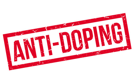 unethical: Anti-Doping rubber stamp on white. Print, impress, overprint. Illustration