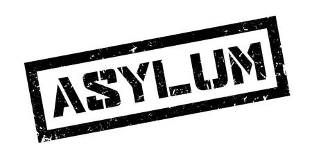 persecution: Asylum rubber stamp on white. Print, impress, overprint.