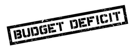 shortfall: Budget Deficit rubber stamp on white. Print, impress, overprint.