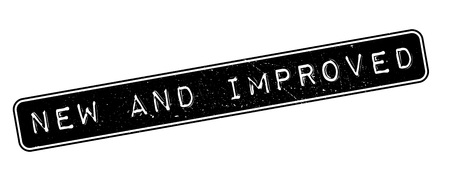 new and improved: New and Improved rubber stamp on white. Print, impress, overprint. Illustration