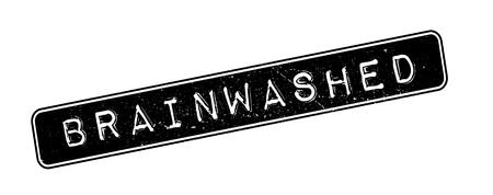 persuasive: Brainwashed rubber stamp on white. Print, impress, overprint.