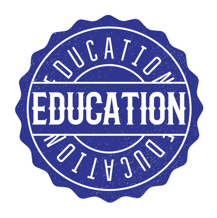 Education rubber stamp, distorted sign. Used, vintage look. Stylish design with dust scratches. Grunge effects can be easily removed for a clean, crisp look.
