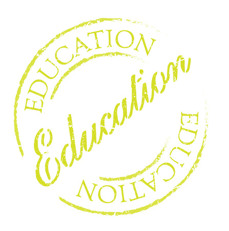 edification: Education rubber stamp, distorted sign. Used, vintage look. Stylish design with dust scratches. Grunge effects can be easily removed for a clean, crisp look.