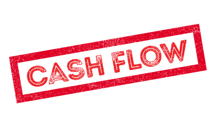 outgoings: Cash Flow rubber stamp on white. Print, impress, overprint.