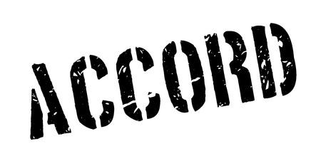 Accord rubber stamp on white. Print, impress, overprint.