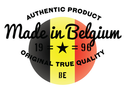 made in belgium: Made in Belgium stamp with text and flag. A product seal, rubber stamp of quality. Sign of unique national product.