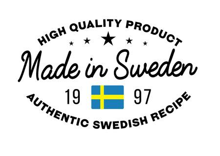 bandera de suecia: Fabricado en Suecia Sello con el texto y la bandera. Un sello de producto, sello de goma de calidad. Signo del producto nacional único. Vectores