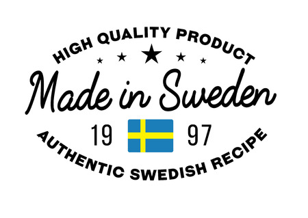 Made in Sweden stamp with text and flag. A product seal, rubber stamp of quality. Sign of unique national product. Ilustração