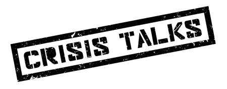 risky situation: Crisis Talks rubber stamp on white. Print, impress, overprint.