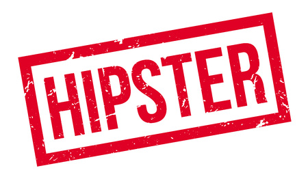 stereotype: Hipster, rubber stamp on white. Print, impress, overprint.