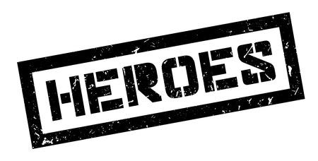 defending: Heroes, rubber stamp on white. Print, impress, overprint.