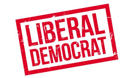 liberal: Liberal Democrat rubber stamp on white. Print, impress, overprint.