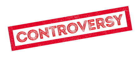 controversy: Controversy rubber stamp on white. Print, impress, overprint.