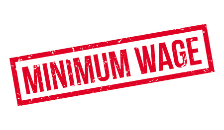 minimum wage: Minimum Wage rubber stamp on white. Print, impress, overprint.