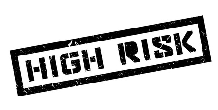 risky situation: High Risk, rubber stamp on white. Print, impress, overprint. Illustration