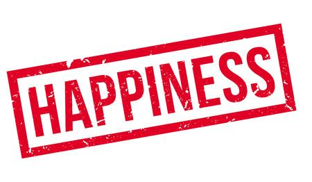La felicidad, sello de goma en blanco. Imprimir, impresionar, sobreimpresión. Ilustración de vector