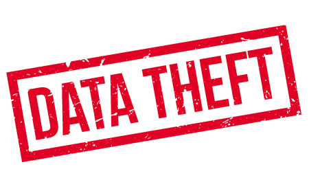 theft: Data Theft rubber stamp on white. Print, impress, overprint.