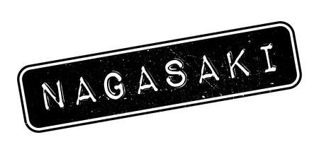 nagasaki: Nagasaki rubber stamp on white. Print, impress, overprint. Illustration