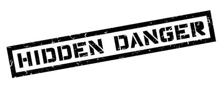 unsafe: Hidden Danger, rubber stamp on white. Print, impress, overprint. Illustration