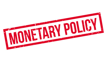 budgetary: Monetary Policy rubber stamp on white. Print, impress, overprint.