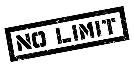 unrestricted: No Limit rubber stamp on white. Print, impress, overprint. Illustration
