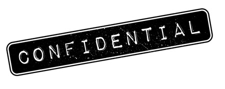 stealth: Confidential rubber stamp on white. Print, impress, overprint.