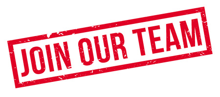 job opening: Join Our Team, rubber stamp on white. Print, impress, overprint.