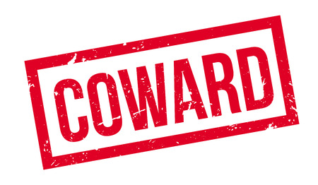 coward: Coward rubber stamp on white. Print, impress, overprint.