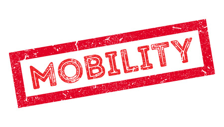 motility: Mobility rubber stamp on white. Print, impress, overprint. Illustration