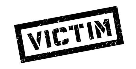 fatality: Victim rubber stamp on white. Print, impress, overprint. Illustration