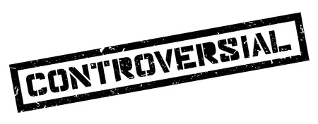 controversy: Controversial rubber stamp on white. Print, impress, overprint.