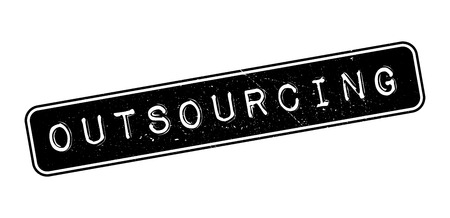 outsourcing: Outsourcing rubber stamp on white. Print, impress, overprint. Illustration