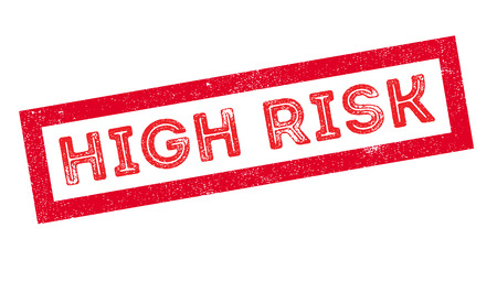 risky situation: High Risk, rubber stamp on white. Print, impress, overprint. Illustration