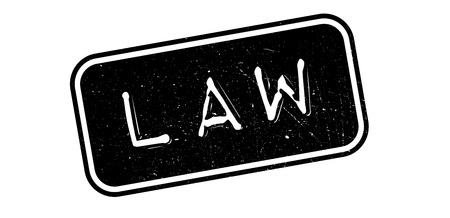 lawmaking: Law rubber stamp on white. Print, impress, overprint.
