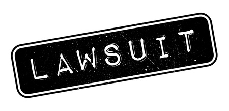 accuse: Lawsuit rubber stamp on white. Print, impress, overprint.