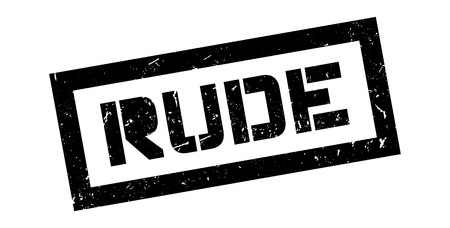 surly: Rude rubber stamp on white. Print, impress, overprint.