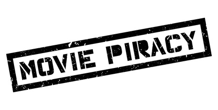 piracy: Movie Piracy rubber stamp on white. Print, impress, overprint. Illustration