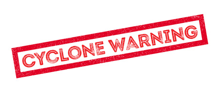 Cyclone Warning rubber stamp on white. Print, impress, overprint.