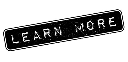 uni: Learn More rubber stamp on white. Print, impress, overprint.