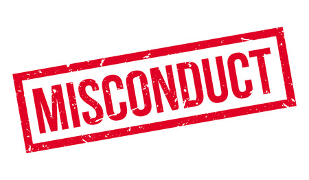 misconduct: Misconduct rubber stamp on white. Print, impress, overprint.