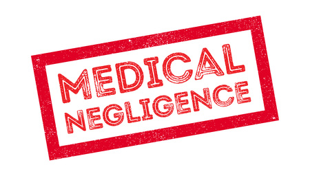 forgetful: Medical Negligence rubber stamp on white. Print, impress, overprint.