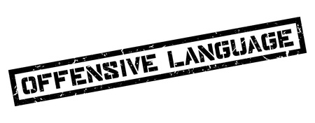 obscene: Offensive Language rubber stamp on white. Print, impress, overprint.