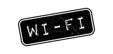 isp: WiFi rubber stamp on white. Print, impress, overprint. Illustration